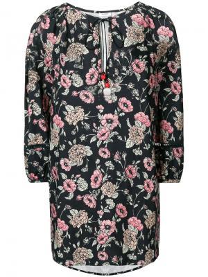 Короткое платье с цветочным рисунком Morye Vilshenko. Цвет: черный