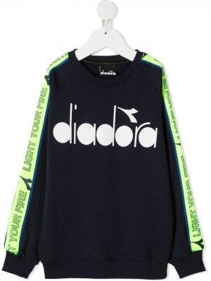 Толстовка с логотипом Diadora Junior. Цвет: синий