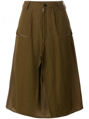 Юбка в стиле милитари Yohji Yamamoto Vintage. Цвет: коричневый