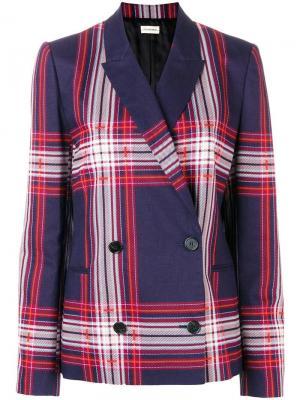 Двубортный пиджак в клетку By Malene Birger. Цвет: синий