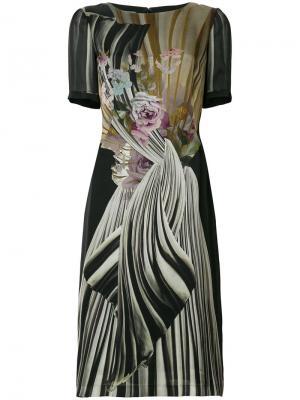 Платье миди с цветочным принтом Alberta Ferretti. Цвет: черный