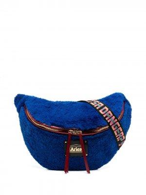 Сумка на плечо из искусственной овчины Aries. Цвет: синий