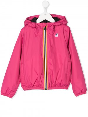 Куртка на молнии с капюшоном K Way Kids. Цвет: розовый
