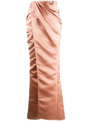 Юбка макси с драпировкой и запахом Elisabetta Franchi. Цвет: розовый