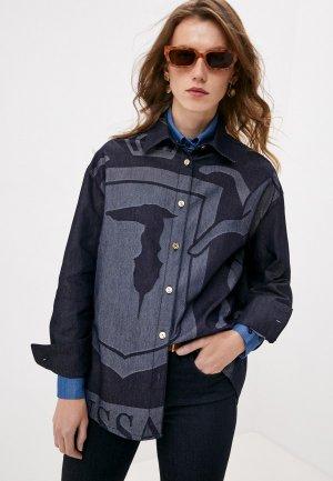 Рубашка джинсовая Trussardi. Цвет: синий