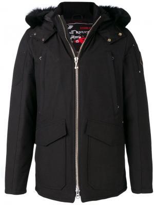 Fox fur trimmed hood padded jacket Moose Knuckles. Цвет: черный