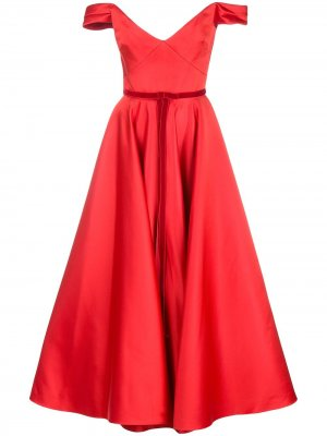 Атласное платье-корсет Marchesa Notte. Цвет: красный