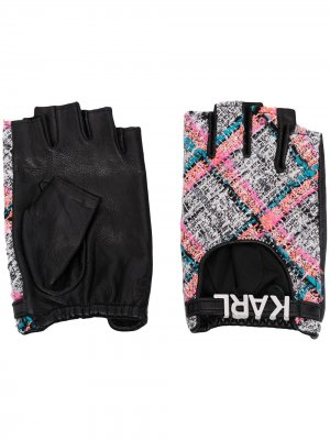 Перчатки-митенки K/Studio Karl Lagerfeld. Цвет: черный