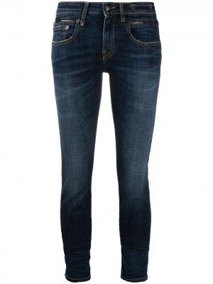 Укороченные джинсы скинни с заниженной талией R13. Цвет: синий