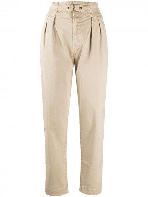 Твиловые брюки с завышенной талией Mother. Цвет: коричневый