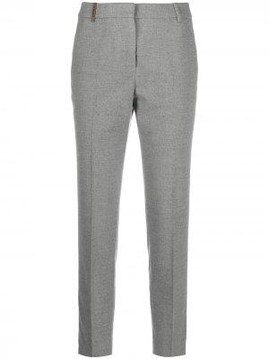 Укороченные брюки кроя слим Peserico. Цвет: серый