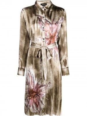 Платье с цветочным принтом Avant Toi. Цвет: коричневый