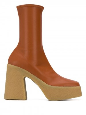 Ботильоны-носки на каблуке и платформе Stella McCartney. Цвет: коричневый