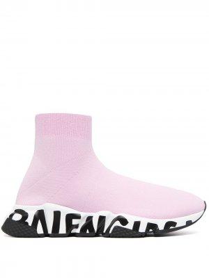 Кроссовки-носки Speed с принтом граффити Balenciaga. Цвет: розовый