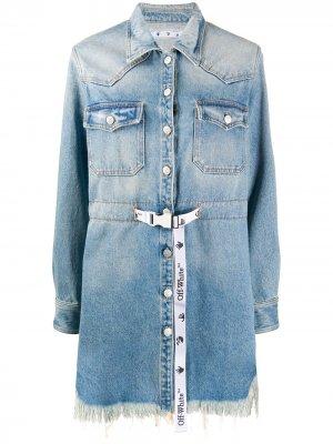 Джинсовое платье с бахромой и ремнем Industrial Off-White. Цвет: синий