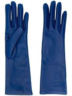 Перчатки с тисненым логотипом Saint Laurent. Цвет: синий