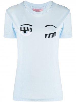 Футболка Flirting с логотипом Chiara Ferragni. Цвет: синий