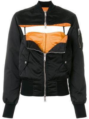 Куртка с вырезными деталями на груди UNRAVEL PROJECT. Цвет: черный