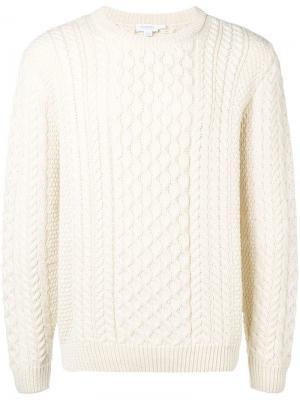 Вязаный свитер с косами Sunspel. Цвет: белый
