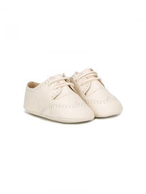 Туфли-пинетки на шнуровке La Stupenderia. Цвет: нейтральные цвета