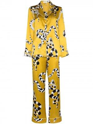 Пижама Lila Seduction с принтом Olivia von Halle. Цвет: золотистый
