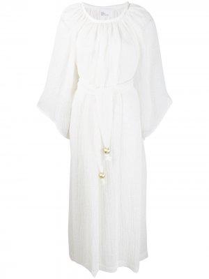 Пляжное платье с принтом и складками Lisa Marie Fernandez. Цвет: белый