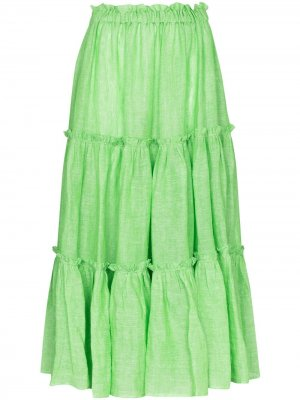 Ярусная юбка миди с оборками Lisa Marie Fernandez. Цвет: зеленый