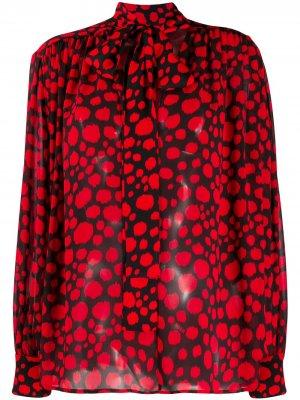Блузка с абстрактным принтом и бантом MSGM. Цвет: красный