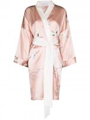 Короткий халат с принтом Olivia von Halle. Цвет: розовый