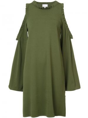 Платье с вырезами на рукавах Milly. Цвет: зеленый