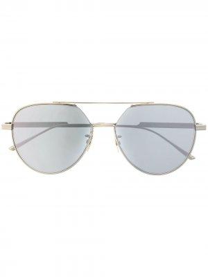 Солнцезащитные очки-авиаторы 590251VCQU0 8118 Bottega Veneta Eyewear. Цвет: серебристый