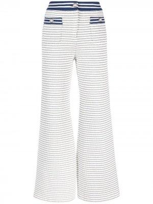 Укороченные твидовые брюки в полоску Alessandra Rich. Цвет: белый
