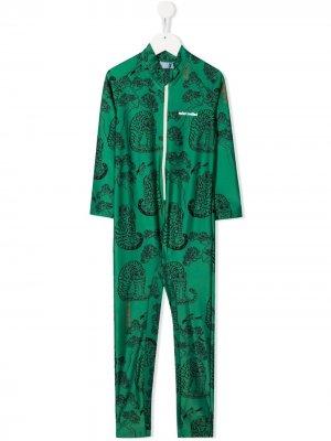 Солнцезащитный костюм с принтом Mini Rodini. Цвет: зеленый